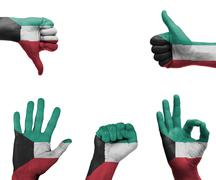 hand set with the flag of kuwait - stock photo