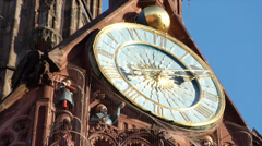 Zoom out from the clock tower of the Nuremberg cathedral Stock Footage