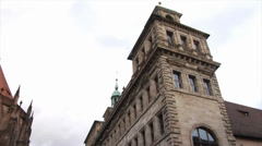 Historic buildings and an old street of Nuremberg, Germany Stock Footage