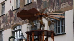 Traditional rotating wooden tower at the christmas market in Nuremberg, Germany Stock Footage