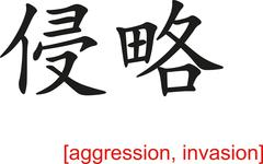 Chinese Sign for aggression, invasion Stock Illustration