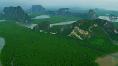 Aerial view Phang Nga Bay wetlands forestation, Thailand Stock Footage