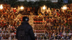 Hand made figurines stall at the christmas market in Nuremberg, Germany Stock Footage