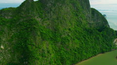 Aerial view of Phang nga bay  erosion of limestone cliffs, Thailand - stock footage