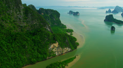 Aerial view Phang nga bay sediment and emerald sea, Thailand - stock footage