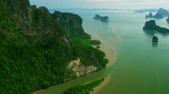 Aerial view Phang nga bay sediment and emerald sea, Thailand Stock Footage
