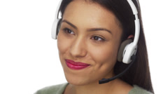 Mexican woman telemarketer talking and smiling Stock Footage