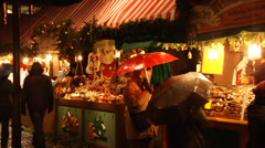 Beautifully decorated food stalls at the christmas market in Nuremberg, Germany Stock Footage