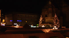 Pan and zoom out of the christmas market in Nuremberg at night, from elevation Stock Footage