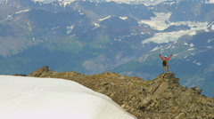 Aerial distant view of lone climber remote wilderness  Alaska, USA - stock footage