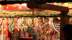 Traditional decorated gingerbreads in sweets stall in Vienna Christmas market. Stock Footage