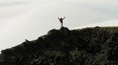 Aerial view lone male mountain climber, Alaska, USA - stock footage