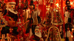 Wooman in red buying a snow globe during a Christmas market in Vienna. Stock Footage
