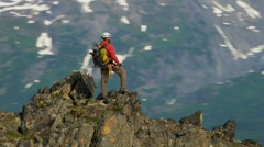 Aerial view of lone climber remote wilderness, Alaska, USA Stock Footage