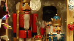 Vintage wooden nutcrackers and other toys at the Christmas market in Vienna. Stock Footage