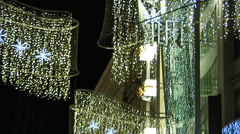 Christmas light decorations in the streets of Vienna, Austria, at night Stock Footage