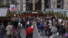 Crowd of shoppers at the Vienna Christmas market Stock Footage