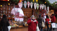 Stylish gingerbreads stall at Vienna christmas market Stock Footage