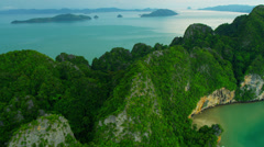 Aerial view limestone cliffs in Phang Nga Bay, Thailand - stock footage