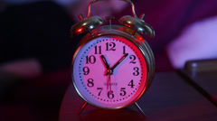 Getting up knocking off alarm clock Stock Footage