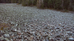 A periglacial stone run made of cambrian rocks in Swietokrzyskie Mountains. Stock Footage