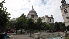 St. Paul's Cathedral London & fountains - stock footage