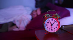 Knocking knock off alarm clock Stock Footage