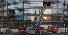Fire at luxury apartment in London 4K Stock Footage