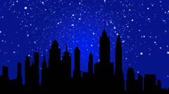 snowing Silhouette of a city on a blue background - stock footage