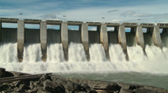 Hydro Dam with Rainbow pan right Stock Footage