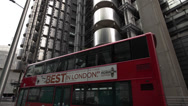 Lloyd's building, Red Bus, City of London Stock Footage