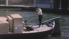 Gondola transport rower--From 1950's movie film - stock footage