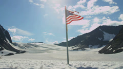 Stock Video Footage of Stars and Stripes flag Arctic Circle remote wilderness, USA
