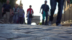 Italy, Rome, tourists visiting Palatine hill and Roman Forum. Selective focus. - stock footage