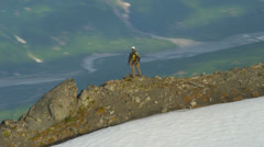 Aerial view of high Peak climber, Alaska - stock footage