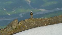 Stock Video Footage of Aerial view of high Peak climber, Alaska