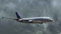 Airbus A-380 flying in the storm with rain - closeups tracking shot Stock Footage