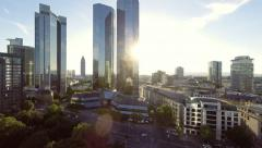 Stock Video Footage of skyline frankfurt, germany, bank. financial district. helicopter fly over. city
