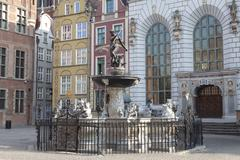 Neptune's Fountain in Gdansk, Poland - stock photo