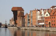 Stock Photo of The medieval port crane over Motlawa river in Gdansk, Poland