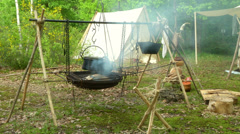 Stock Video Footage of celtic village cooking 03