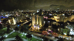 Stock Video Footage of Aerial Ocean Drive night lights