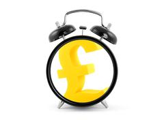 Time is money. Alarm clock with golden pound symbol. Stock Photos