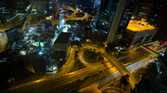 Time lapse illuminated city  view flyover Hong Kong, China Stock Footage