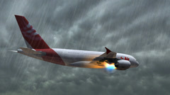 Airbus A-380 with a burning turbine flying in the storm - closeups tracking shot Stock Footage