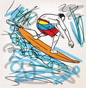 surfing sketch illustration - stock illustration