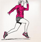 Stock Illustration of female runner sketch illustration