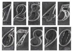 Old metal type numbers isolated on white - stock photo