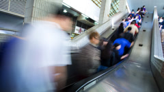 Time lapse view commuters city escalator blurred motion, Hong Kong Stock Footage