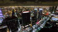Stock Video Footage of Aerial Downtown Miami at night buildings